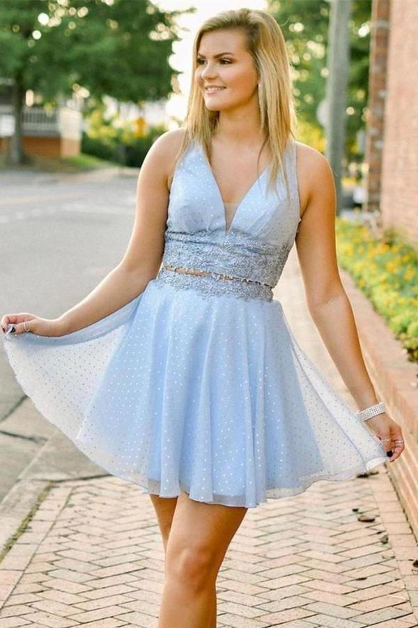 A-Line Short Two Pieces Homecoming Dress Tulle P7RQTMHL