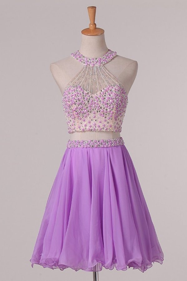 Two-Piece Halter Open Back Homecoming Dresses Beaded Bodice Chiffon PBASG13F