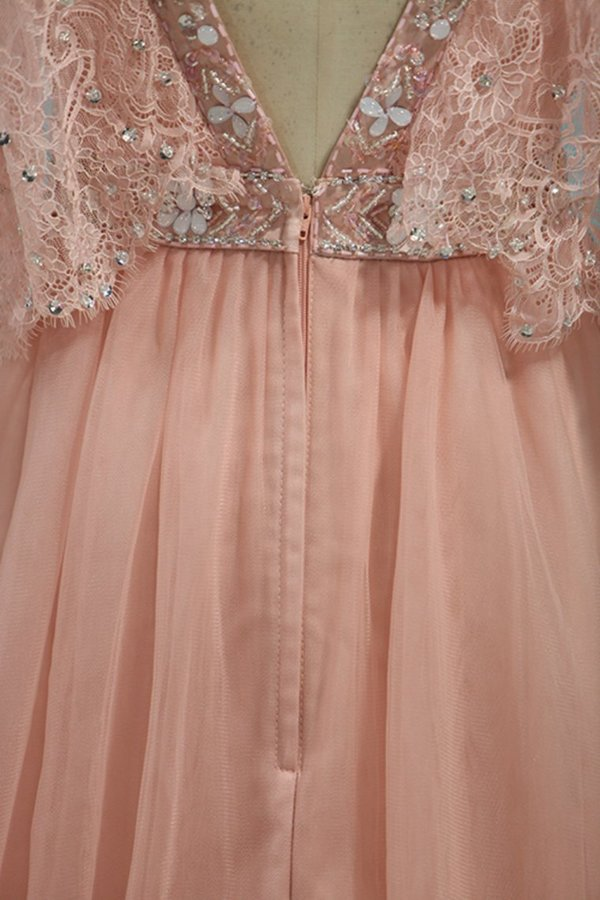 Straps With Beads A Line Prom Dresses Tulle PTS7K3BK