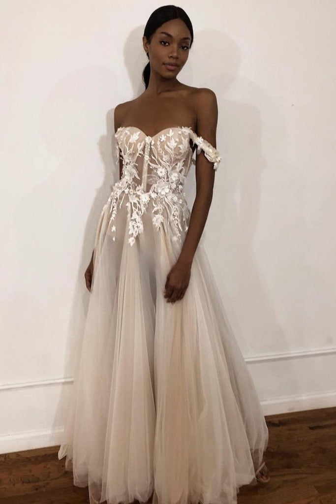 Unique Off The Shoulder Ivory Long Wedding Dress With Appliques Sweetheart Wedding STIPMJM4785