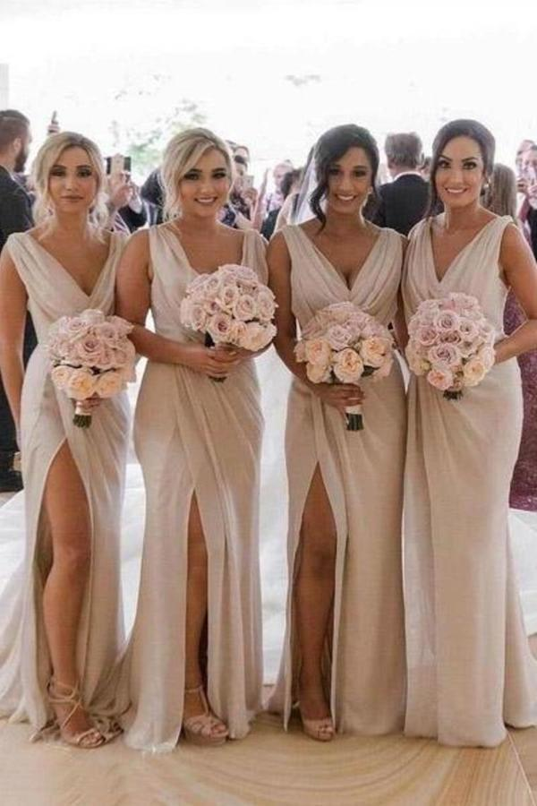 Simple V Neck Sleeveless Sheath Cheap Pleated Long Bridesmaid Dresses PKB4G179