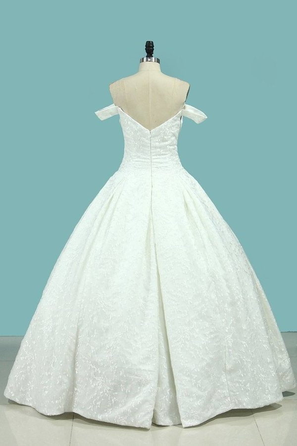 Ball Gown Wedding Dresses Off-The-Shoulder Floor-Length Top Quality Lace PSYHMAG7