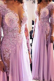 Long Sleeves Scoop Prom Dresses A Line Chiffon With Applique PJ25HLKQ