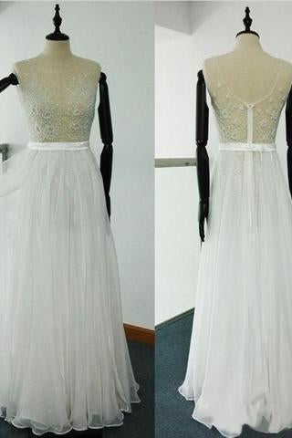 Sheer Beach Ivory Scoop A Line Beaded Embroidery Tulle Chiffon Wedding Dresses