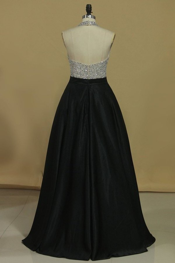 Sexy Open Back A Line Prom Dresses Chiffon With Beads