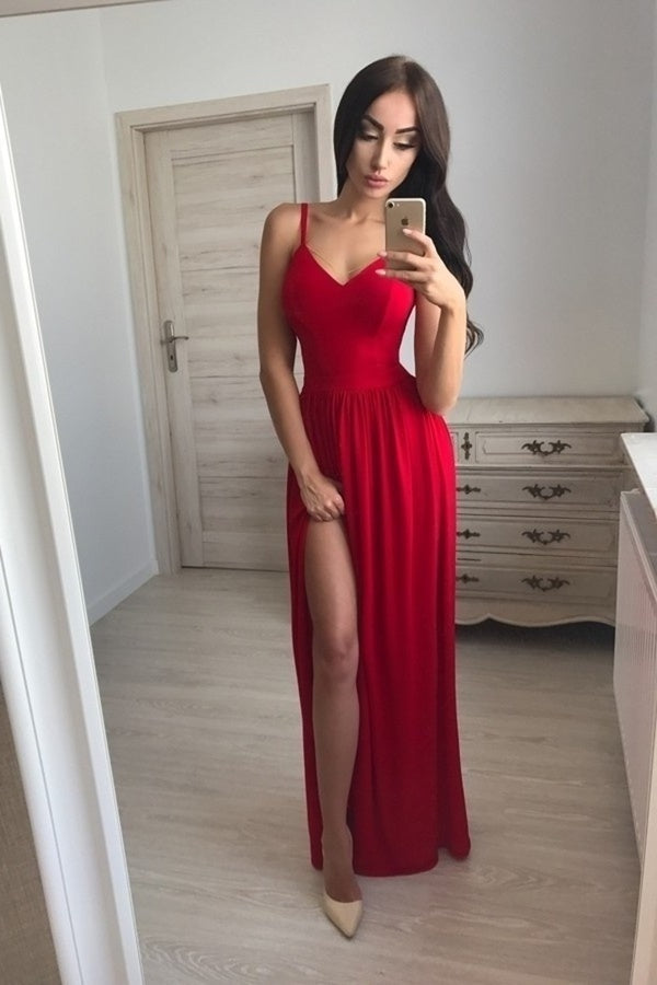 Simple Front Split Long A-Line Red Tight Cheap Prom Dresses PLD9XZ2N