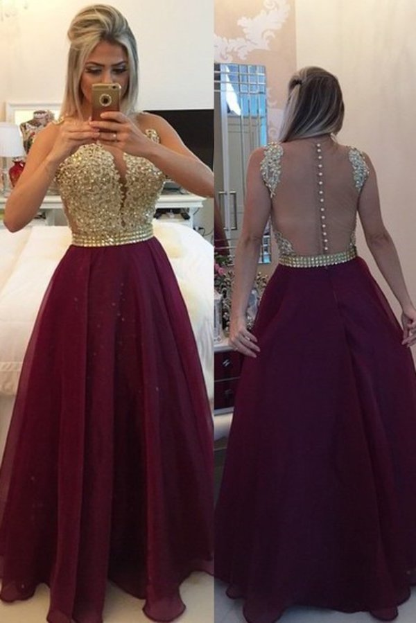 Burgundy/Maroon Prom Dresses Scoop A Line With Sash & PZKYAJL8