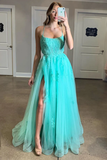 Spaghetti Straps High Slit Evening Dress Appliqued Sweep Train Long Prom STIPK6C7A1K