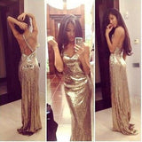 Sparkly Gold Sequins V-Neck Criss Cross Sleeveless Sheath Backless Prom Dresses