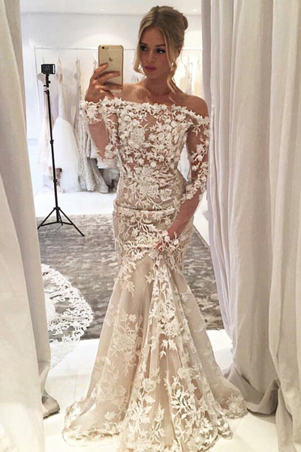 Sheath Mermaid Long Boat Neckline Lace Wedding Dresses P2ZFY2DJ