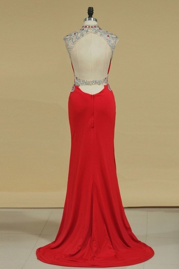 Spandex High Neck Sheath Prom Dresses With Beading P7M76Q89