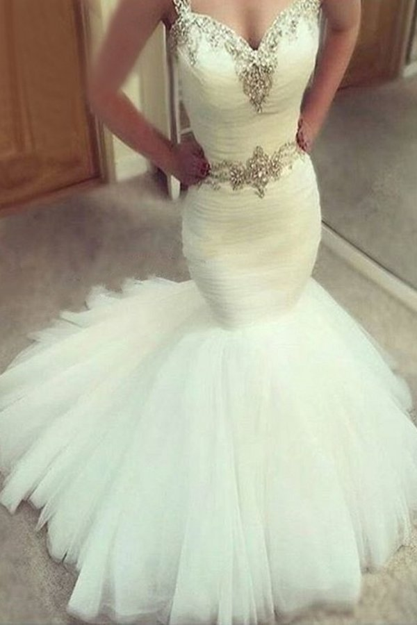 Sweetheart Mermaid Wedding Dresses Straps Beaded PN2LGG7N