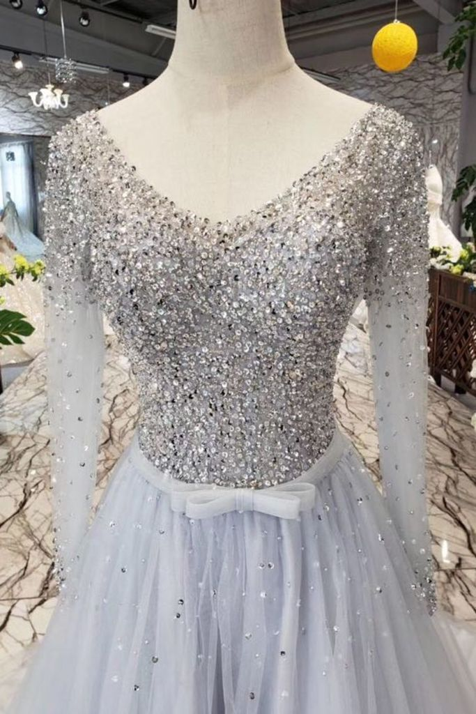 Unique Long Sleeve Tulle Sequins Prom Dresses with Lace up V Neck Evening Dresses