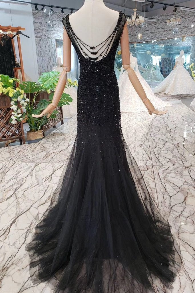 Mermaid Black Sequins Tulle Bodice Prom Dresses with Straps Long Evening Formal Dress