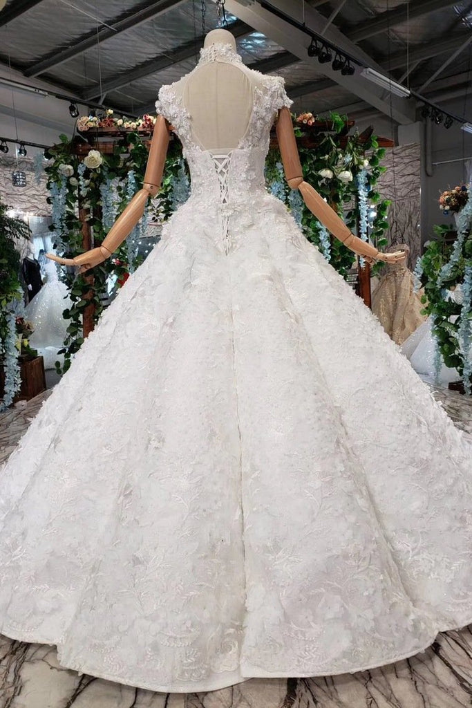 New Arrival Wedding Dresses Cap Sleeves High Neck Ball Gown With Appliques