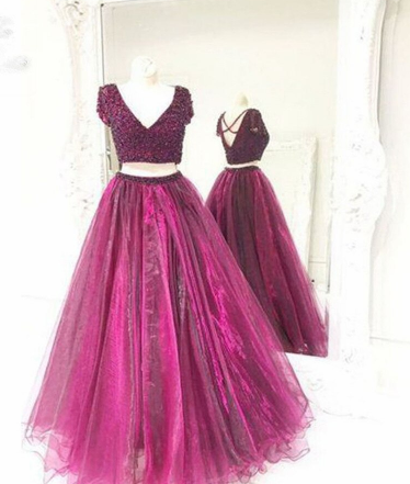 Two Piece Prom Dress Tulle Beaded Prom Dresses Long Prom Dress Evening Dress