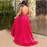 Sexy Deep V-Neck Long Mermaid Red Floor-Length Chiffon Sleeveless Simple Prom Dresses
