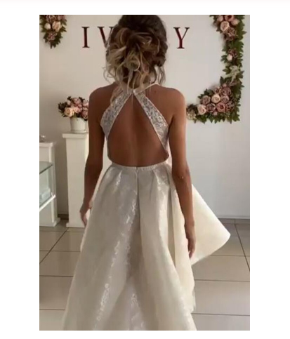 Unique Ivory Halter High Low Homecoming Dresses with Lace Short Prom Dresses