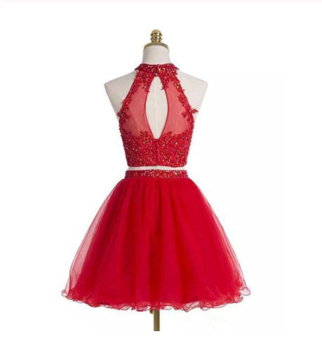 Two-piece Scoop Short Red Beaded Homecoming Dress with Appliques Sequins