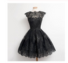Vintage Scalloped-Edge Sleeveless Lace Black Party Prom Dresses with Appliques