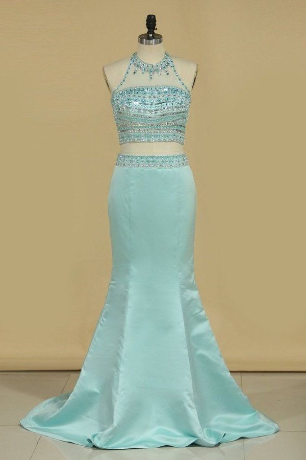 Halter Two Pieces Beaded Bodice Open Back Prom Dresses Mermaid Satin PJRXHXQP