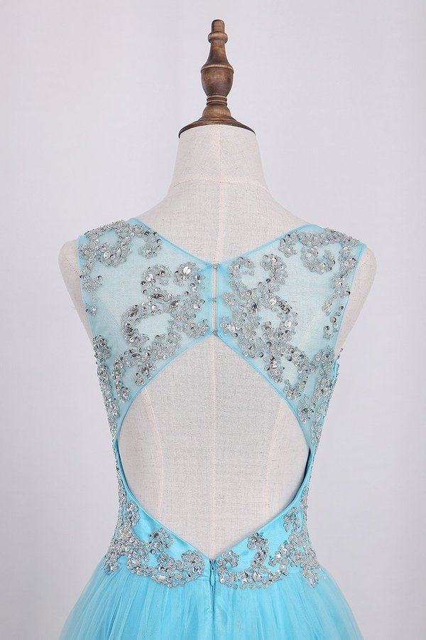 V Neck Open Back A Line With Beading Tulle PRXEAHSJ