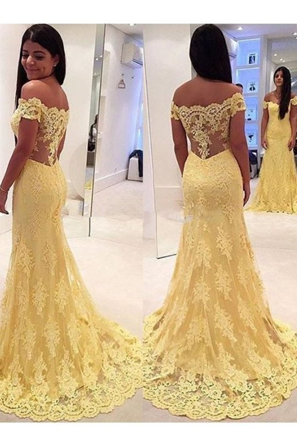 Tulle Off The Shoulder Prom Dresses Mermaid With PXRF3MQD