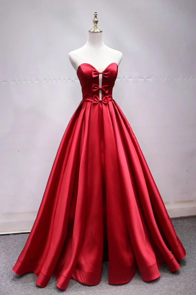 A Line Sweetheart Red Satin Lace Up Long Prom Dresses with Bowknot, Cheap Formal Dresses STI15035