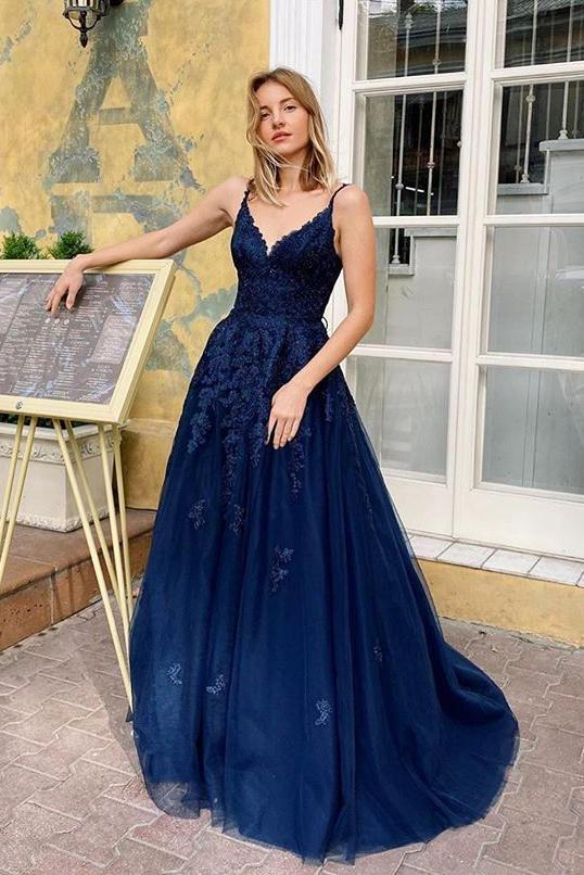 Elegant Blue V Neck Lace Long Prom Dresses Spaghetti Straps Evening STI20485