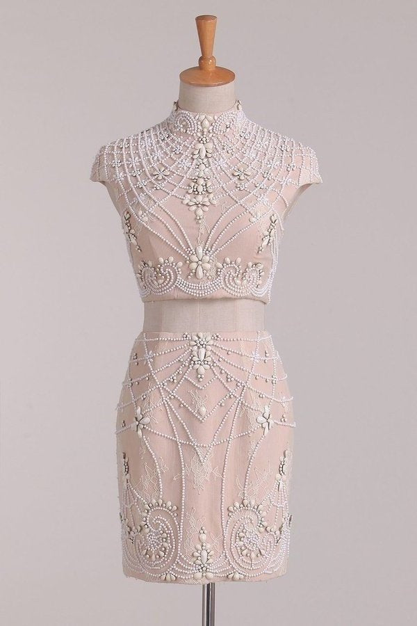 Two-Piece High Neck Homecoming Dresses Sheath Lace PSFP23KG