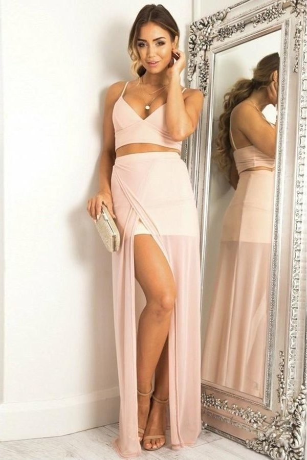 Cute Pink 2 Pieces Long Spaghetti Straps Chiffon Prom Dresses PE3PYAA8
