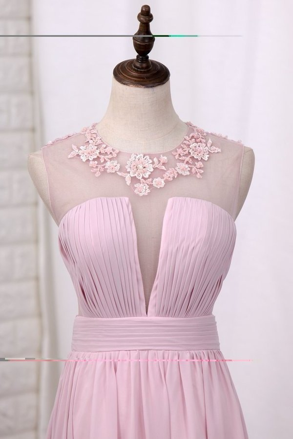 A Line Prom Dresses Chiffon Scoop With Ruffles PM4J186M