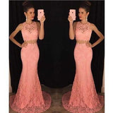 Two Piece Lace Mermaid Peach Long Sexy Sleeveless Prom Dresses