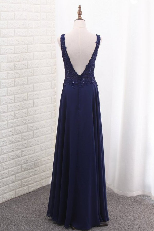 V Neck Open Back Chiffon Prom Dresses With Applique P49CHGFE