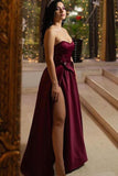 Unique A Line Burgundy Sweetheart Satin Strapless Prom Dresses, Evening STI20448