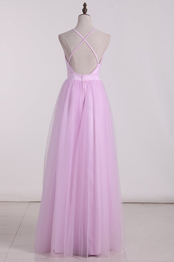 Tulle Bridesmaid Dresses Spaghetti Straps With PFB3CPDH