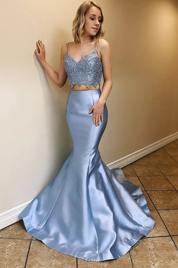 Two Piece Satin Prom Dresses With Lace Spaghetti Straps Mermaid Long Party STIPLPBLEY2