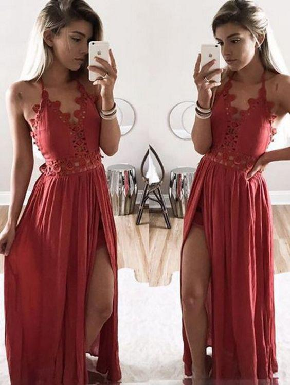 A Line Halter Lace Appliques V Neck Prom Dresses with Slit, Evening STI20454