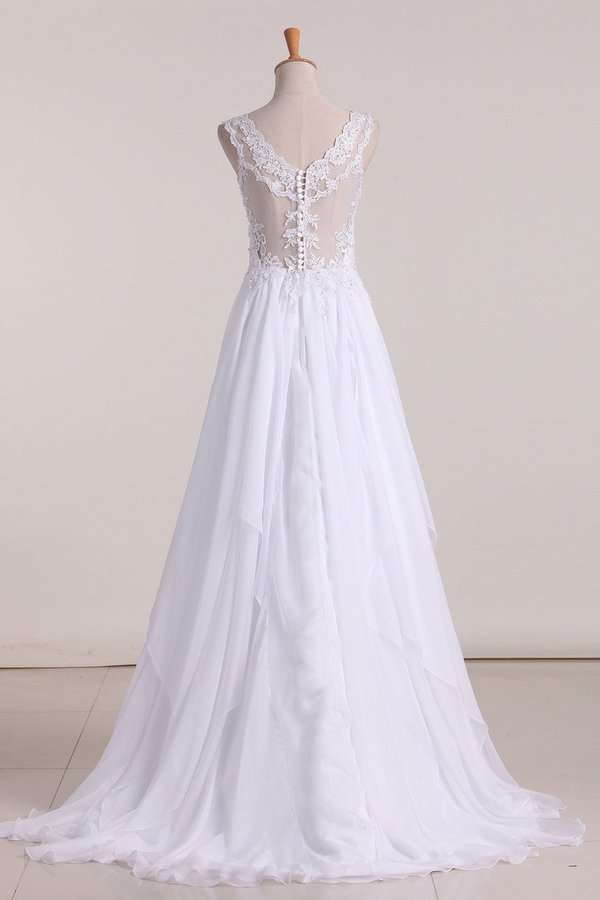 A Line Straps With Applique Wedding Dresses Chiffon Sweep PQPTPXGJ