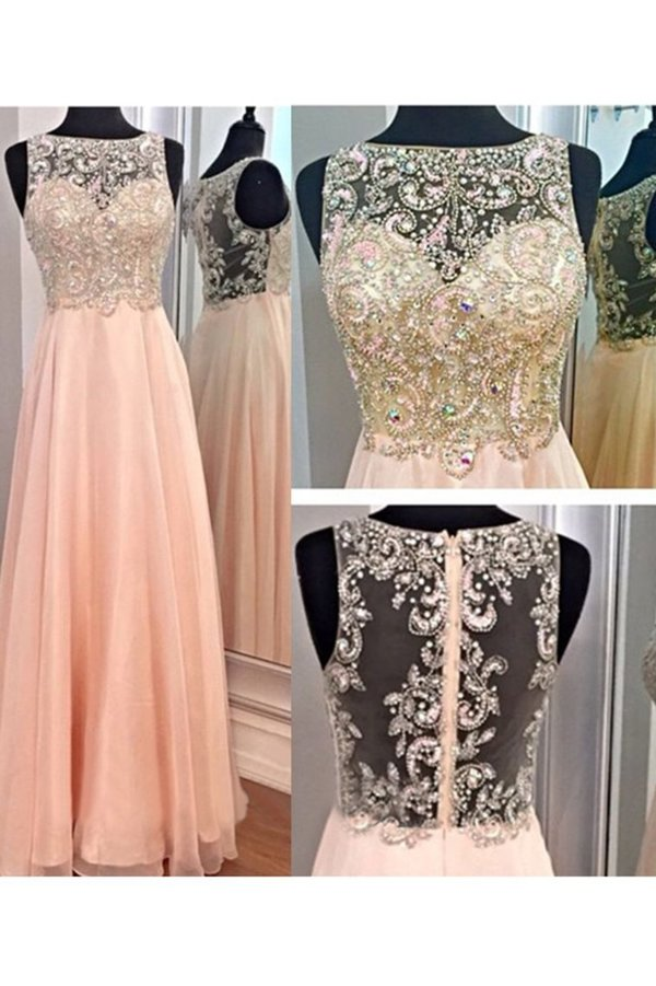 Bateau Prom Dresses A Line Beaded Bodice PS5ZZ1DT