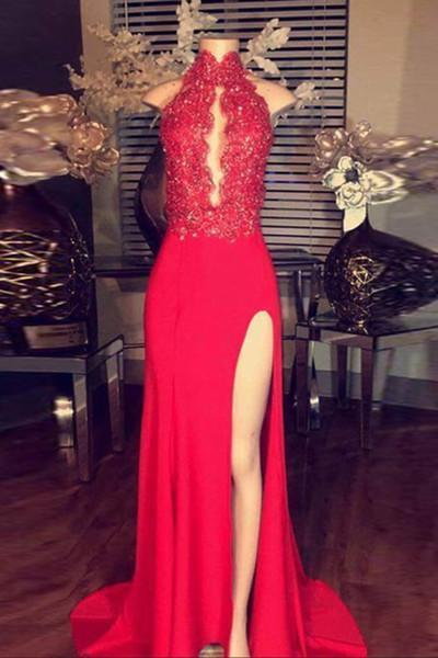 Red chiffon lace halter long slit dress evening dress for prom