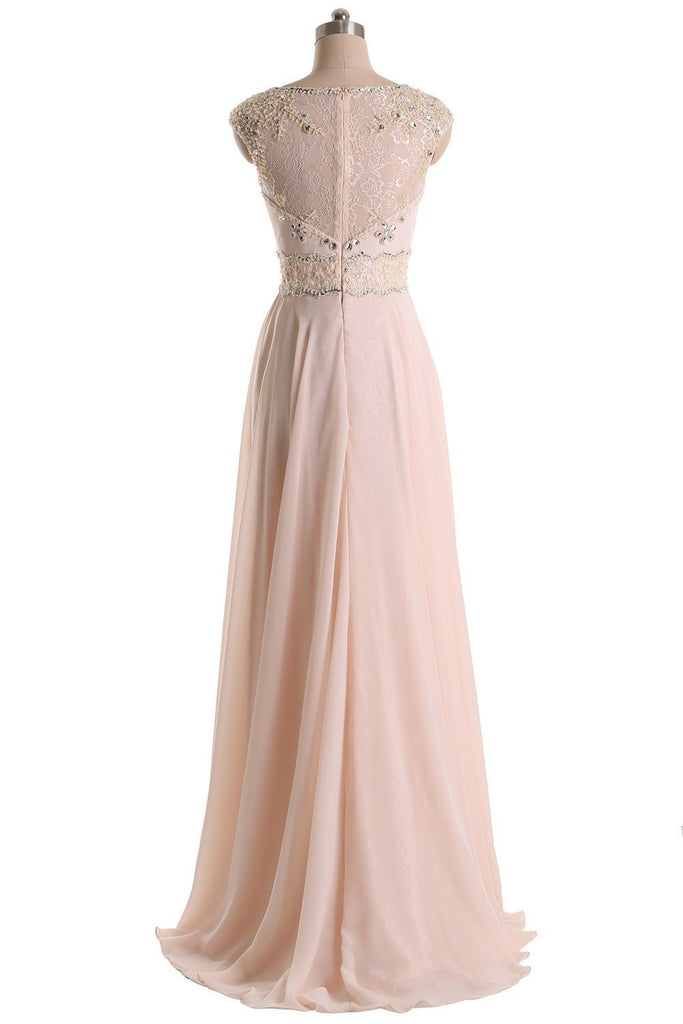 Long Prom Dresses Jewel Chiffon and Lace Bridesmaid Party