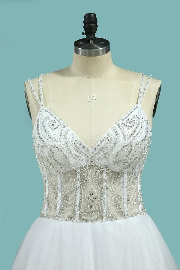 A Line Spaghetti Straps Wedding Dresses Beaded Bodice Tulle PM1ABSQG