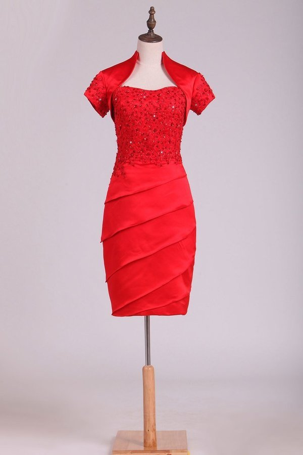 Sheath Mother Of The Bride Dresses Strapless With Beading And PCHTDMT3