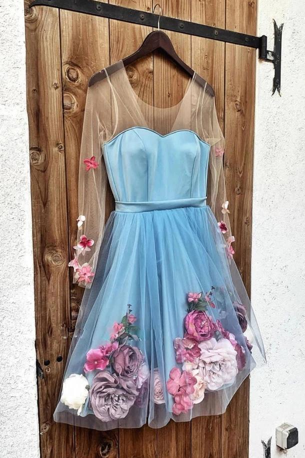 Unique Long Sleeve Blue Short Prom Dresses With 3D Appliques, Homecoming Dress STI15604