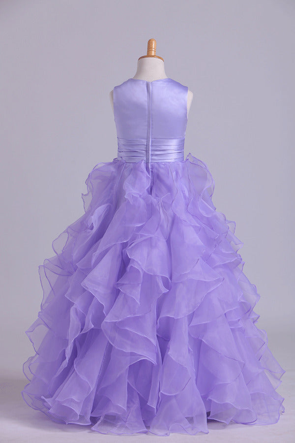 Flower Girl Dresses Ball Gown Scoop Floor Length PDMG67LD