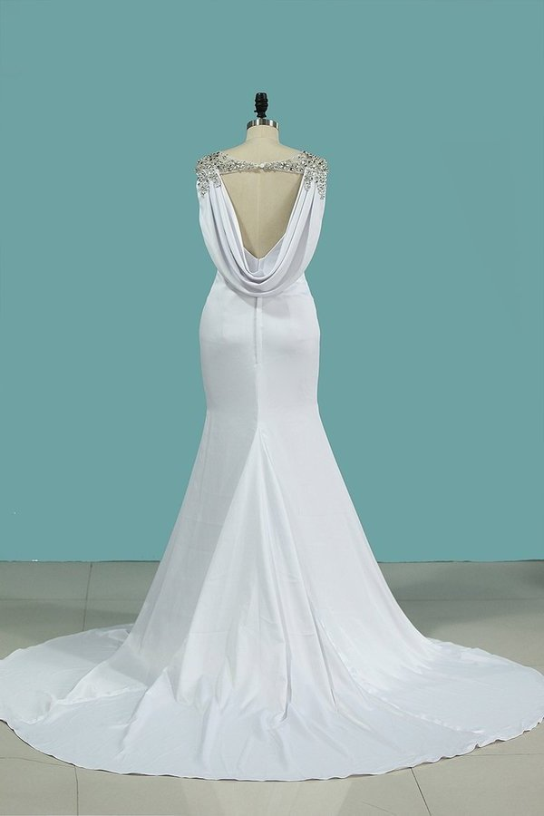 Sexy Open Back Mermaid Wedding Dresses Scoop PDEL46Z2