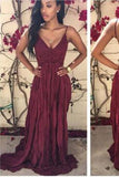 Simple Burgundy A-Line Chiffon Lace V-Neck Spaghetti Straps Backless Long Prom Dresses