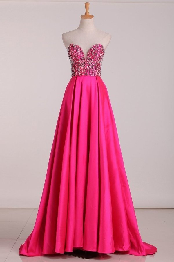 Sweetheart Beaded Bodice Prom Dresses A Line PZ8A45RM
