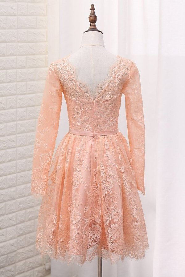 A Line V Neck Long Sleeves Lace Homecoming Dresses PXFBZBZR